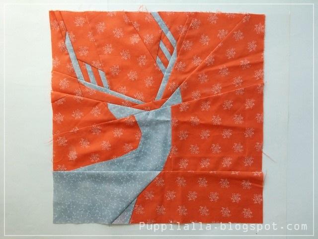 Julianna Gąsiorowska, Puppilalla, Sewing under Rainbow, Not so spring deer, Foundation Paper Piecing, FPP