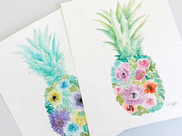 watercolor floral pineapple paintings by Elise Engh