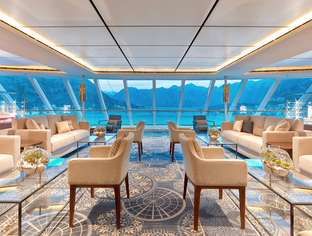 The spirit of Exploration is palpable in the two-deck Explorer's Lounge. This is the view from the upper deck. Photo: © Viking Cruises. Unauthorized use is prohibited.