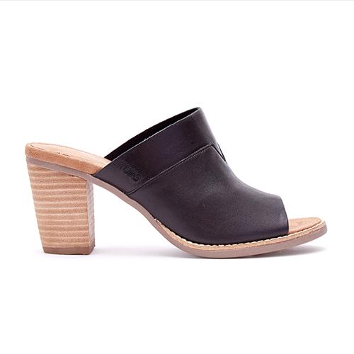 Black Leather Majorca Mules Shoes