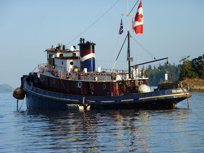 Seahorse Tugboat - flying Canadian flag - Ganges Harbor, Salt Spring Island BC