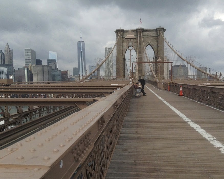 Walking across the Brooklyn Bridge, Towards Manhattan, New York City