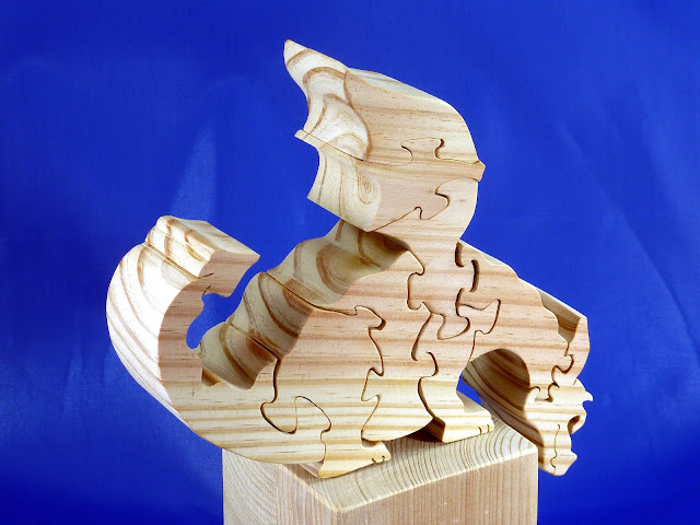 Right Side Top Rear - Wooden Toy Puzzle - Dragon - Yellow Pine - Unfinished - 7.5x6x15 Inches