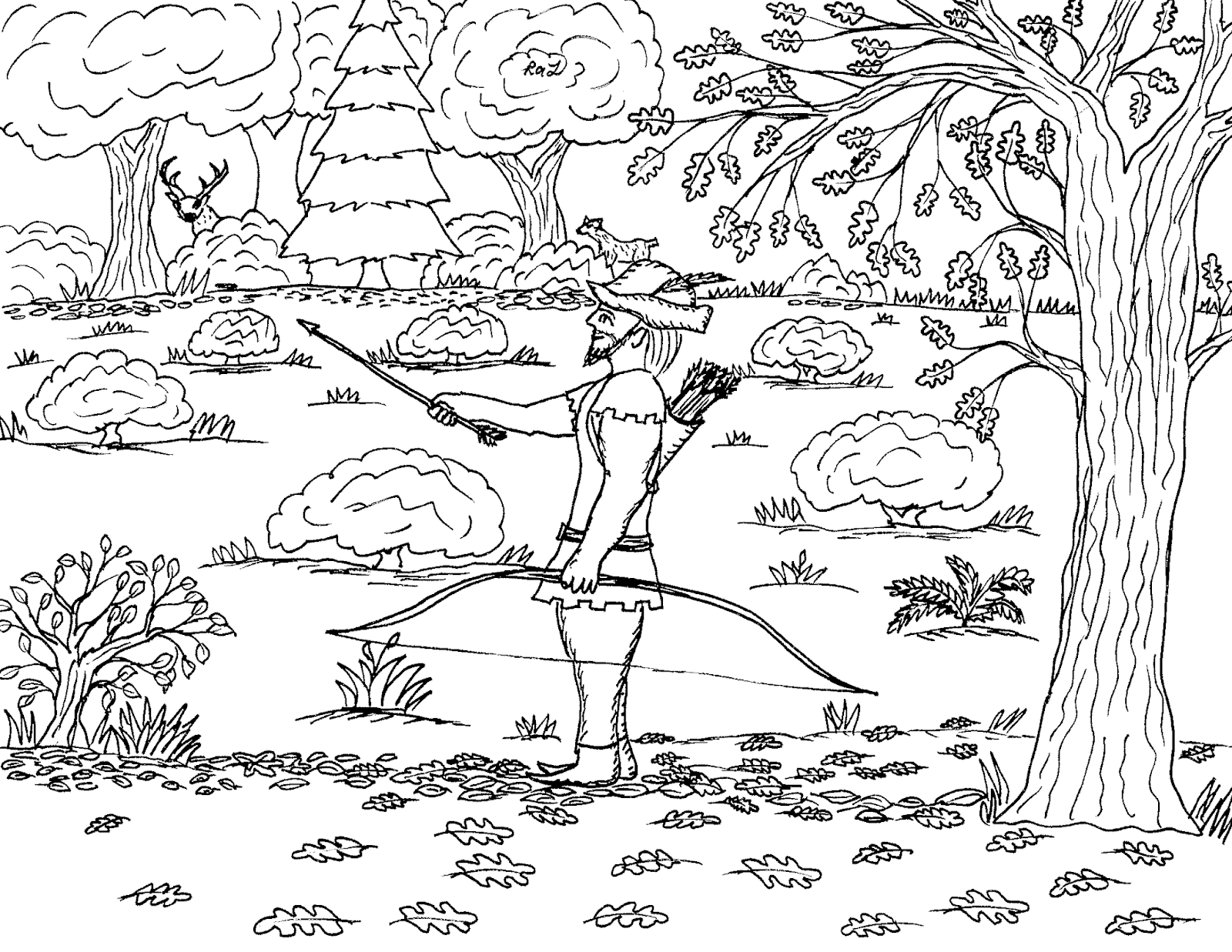 Robin S Great Coloring Pages Robin Hood Out Hunting