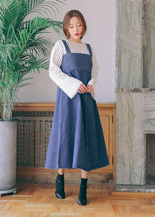 High Waist A-Line Denim Dress