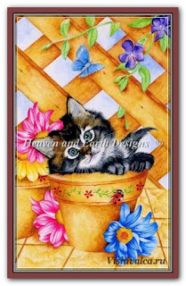 Cross stitch chart «KAM 503 Trellis Kitty + pm - artwork by Karen Middleton»