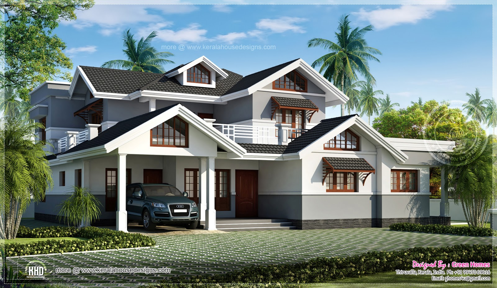 Luxurious kerala villa with sloping roof home elevation for Sloped roof house plans in india