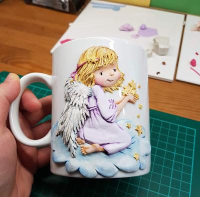 angel, anioł, mug, cup, kubek, z aniołem,
