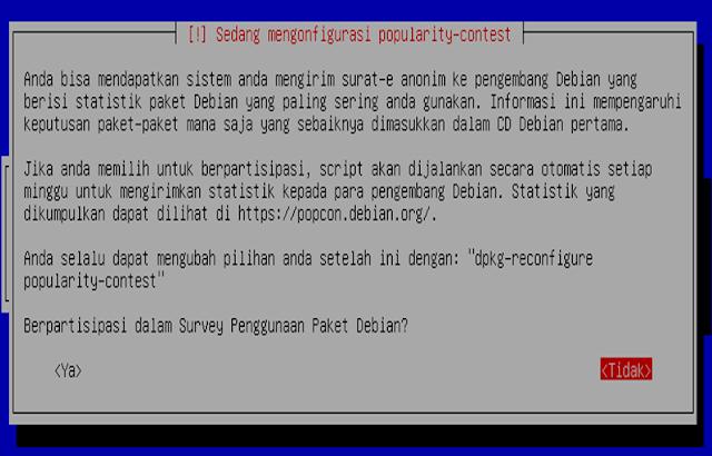 Instalasi Debian - Pilih tidak dalam survey penggunaan paket debian