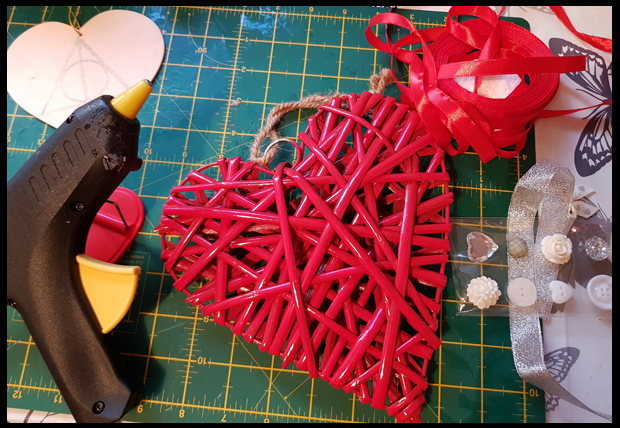 Adding a few embellishments to a wicker heart from B&Q
