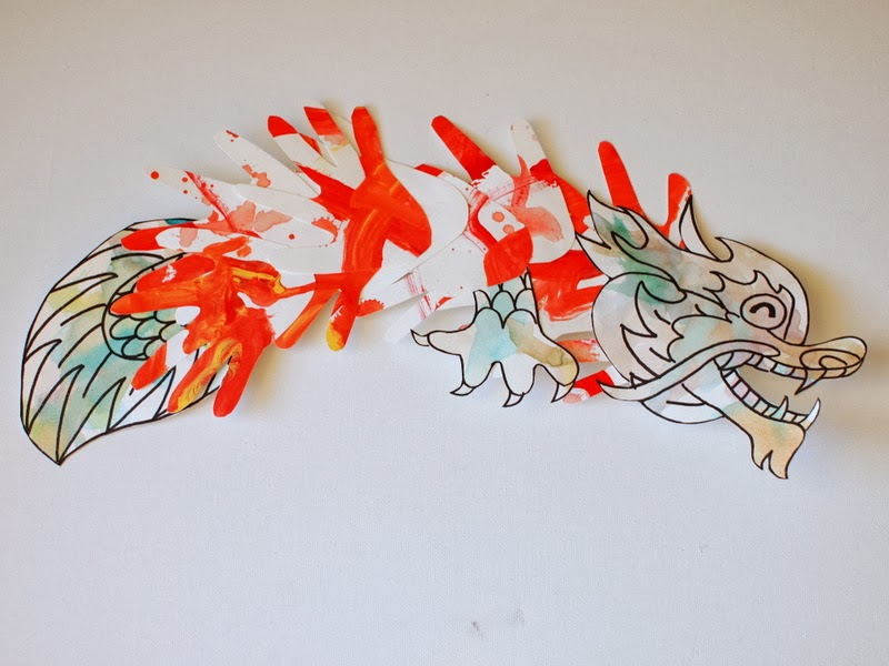 Chinese New Year Hand Print Dragon Craft