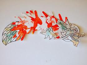 Chinese New Year Hand Print Dragon Craft