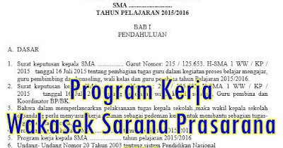 program kerja sarpras, program kerja waka sarpras, program kerja sarana prasarana