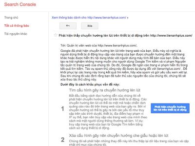 Thông báo hình phạt của Google trong Search console