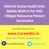 District Social Audit Unit, Malda Walk in for 440 Village Resource Person Vacancies