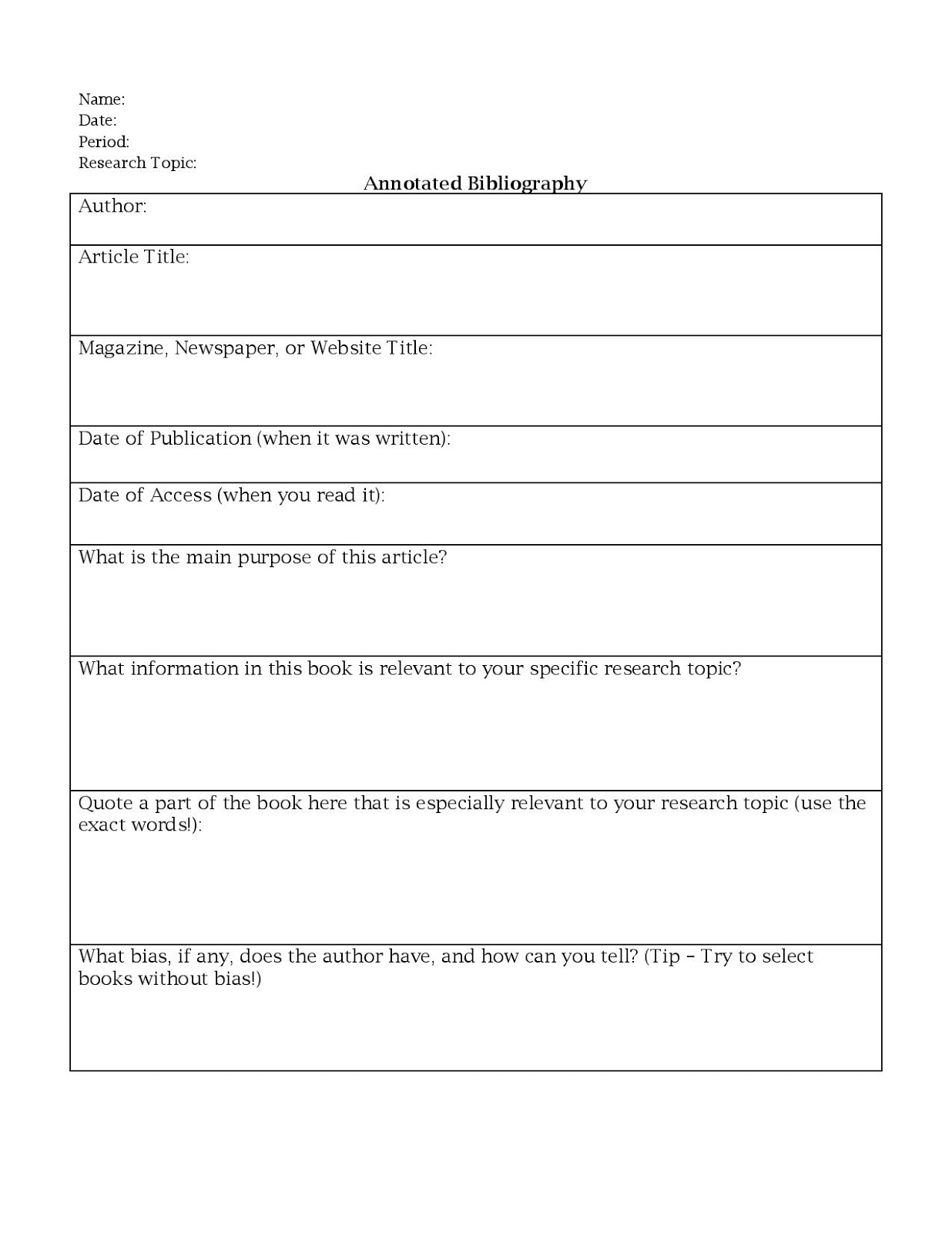 Miss K S English 9 Annotated Bibliography Worksheet
