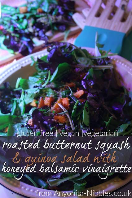 Gluten free, vegan, vegetarian roasted butternut squash and quinoa salad with honeyed balsamic vinaigrette from Anyonita-nibbles.co.uk