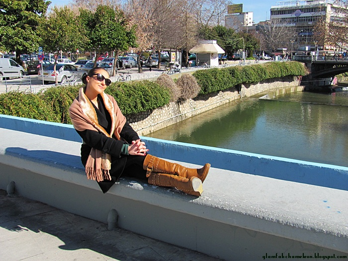 sunny day in Trikala city by the river