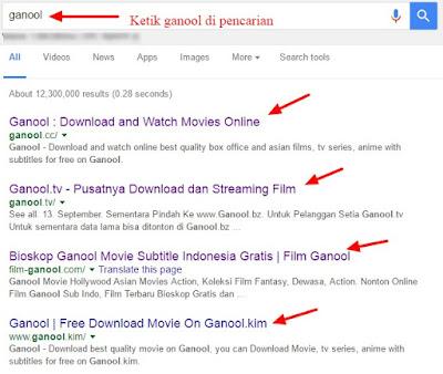 hasil pencarian ganool di google