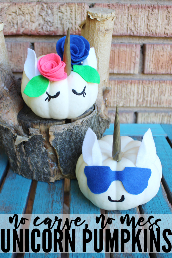 How to make no carve, no mess, easy DIY unicorn pumpkins! This is such a cute and clever DIY unicorn craft. It's the perfect way to decorate an adorable unicorn pumpkin for Halloween. #unicorns #unicorncraft #nocarvepumpkin #pumpkincraft