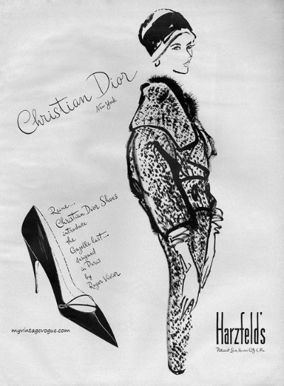 Illustration of Christian Dior designed suit for Hartzfeld's Ad