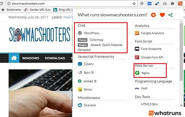 How to Find What all Tools and Plug-ins a website is using - Hawkdive
