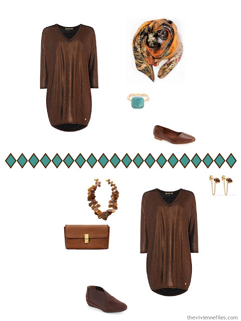 two ways to accessorize a bronze metallic tunic dress
