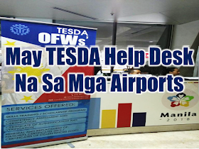 """For the service of overseas Filipino workers (OFWs) and to inform them of the free technical vocational (tech-VOC) courses they can avail for free, the Technical Education and Skills Development Authority (TESDA) has  now set up desks at the country's international airports, including the Ninoy Aquino International Airport (NAIA) Terminals 1 and 3, Mactan-Cebu International Airport, Clark International Airport, and Davao International Airport.  Advertisement        Sponsored Links     The Technical Education and Skills Development Authority (TESDA) has put up desks catering to overseas Filipino workers (OFWs) at the country's international airports. This is to better inform the OFWs of the assistance they can get from the government agency.  TESDA specialist Nelson Efren told the Philippine News Agency (PNA) on Thursday that TESDA's assistance to OFWs is not limited to the repatriated ones and those who are from Kuwait.  """"Any OFW can avail of TESDA's assistance. It was the directive of (TESDA) Director General Guiling Mamondiong to prioritize the OFWs,"""" he said.  Efren added that the OFWs also need retraining and skills upgrade, whether or not they opt to stay.  Specifically, TESDA has placed the OFWs' desks at the Mactan-Cebu International Airport, Clark International Airport, Davao International Airport, and at the Terminals 1 and 3 of the Ninoy Aquino International Airport (NAIA).  The OFWs' desks were mounted in NAIA on Wednesday, May 16.  TESDA Director General Guiling Mamondiong earlier announced that the agency would prioritize the repatriated OFWs in its free technical vocational (tech-voc) courses.  Mamondiong also instructed the agency's district, provincial, and regional directors to provide retraining assistance to the distressed OFWs, particularly those from Kuwait.  The agency earlier announced it would provide free training, assessment, training support fund, food, and transportation allowance of PHP100 per day to repatriated OFWs.  The OFW desks are """