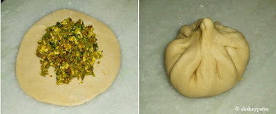 rolled out to roti and filling placed