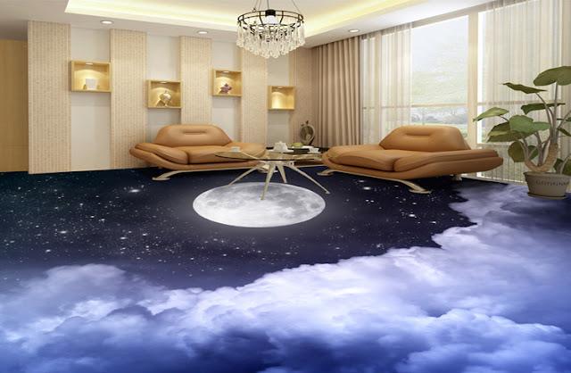 3d flooring for living room with sky clouds moon vinyl floor mural