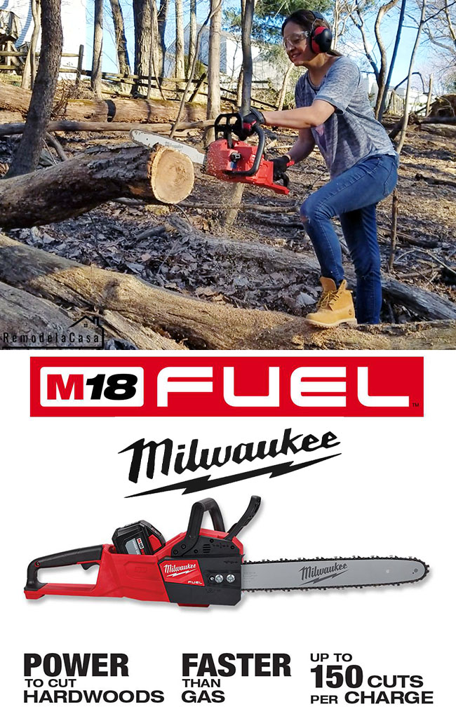 Cristina Garay Cutting tree trunk with Milwaukee chainsaw