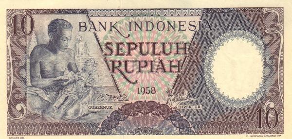 10 rupiah 1959 depan