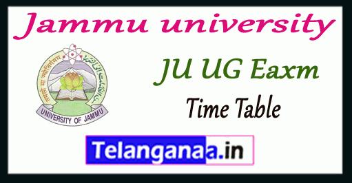 Jammu university exam 1st 2nd 3rd Time Table