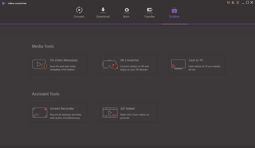 Toolbox Wondershare Video Converter Ultimate 10