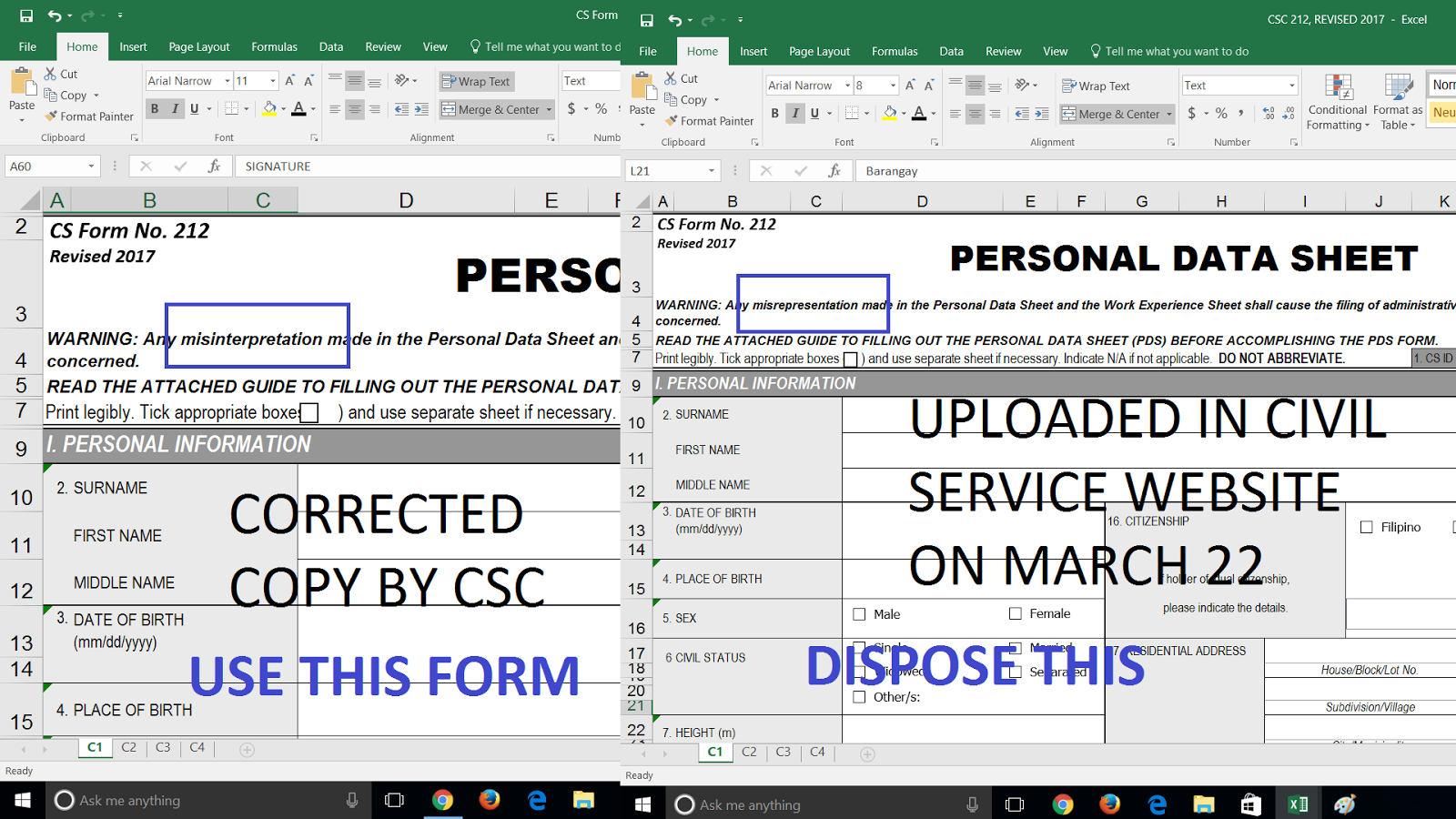 Corrected Copy Of Personal Data Sheet Pds