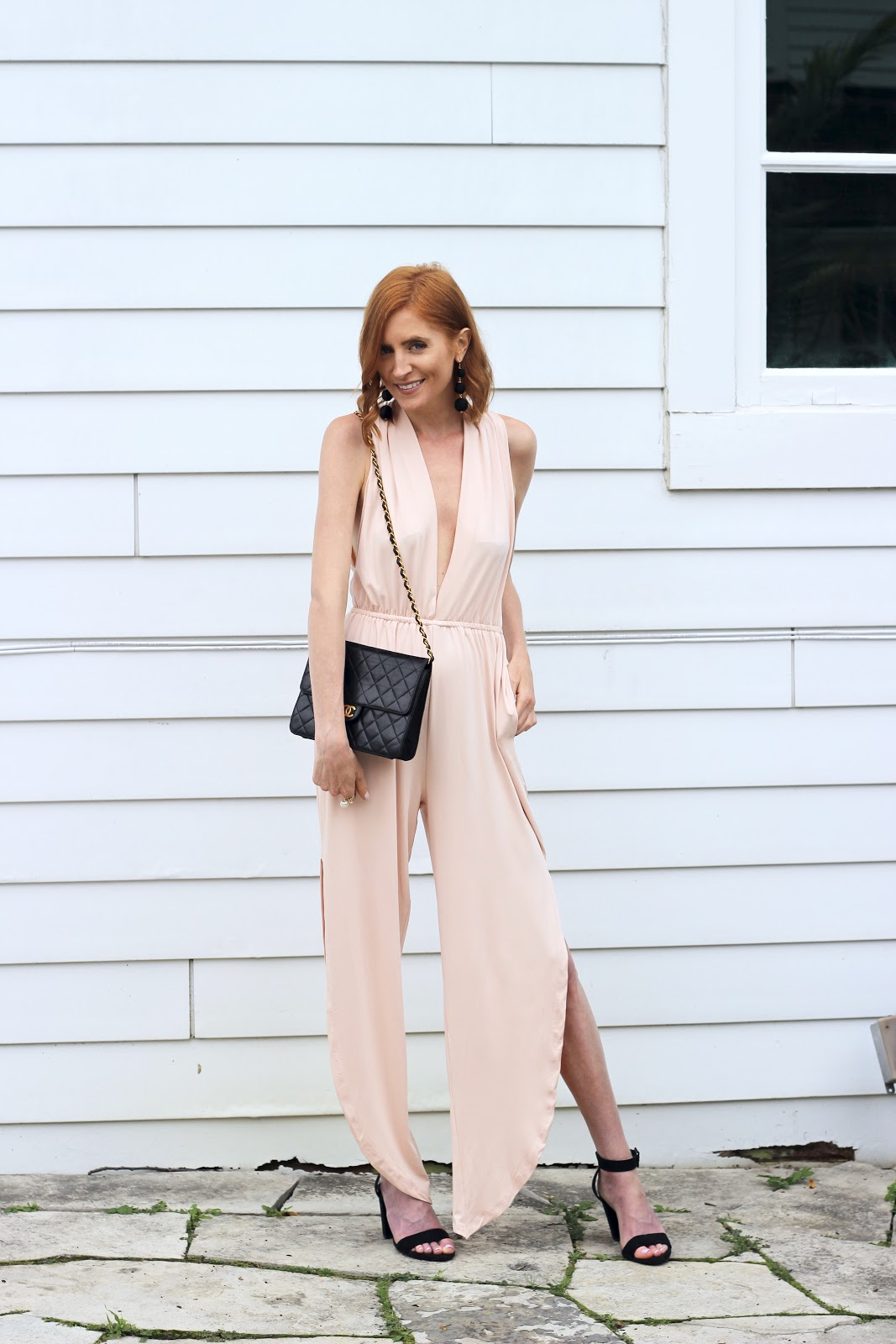 Blush Pink Satin Pantsuit, Black drop earrings, Vintage Chanel flap bag, black Zara Strappy Sandals --summer wedding attire