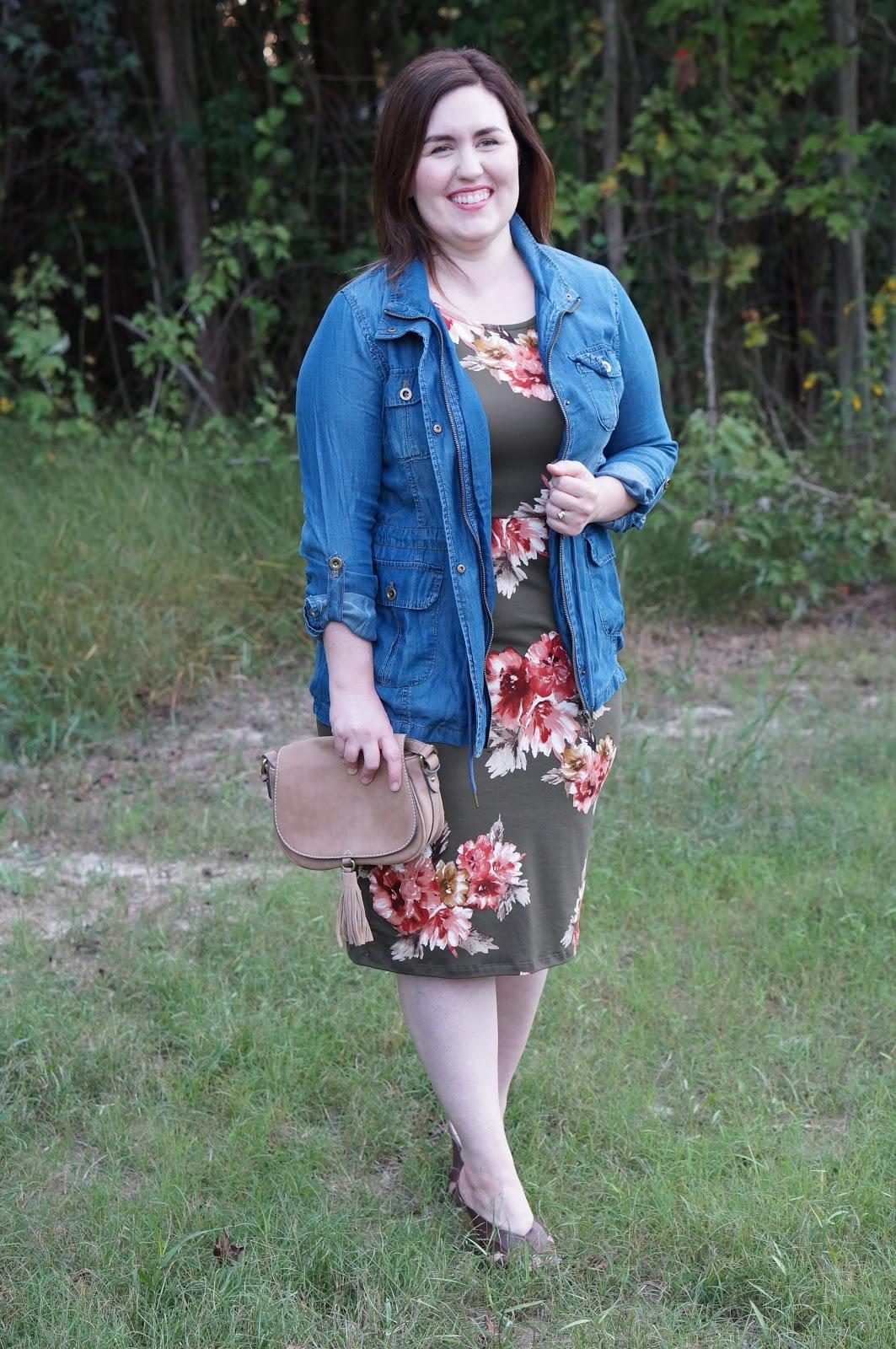 Rebecca Lately The Flourish Market Abigail Dress Olive Washed Tencel Cargo Jacket