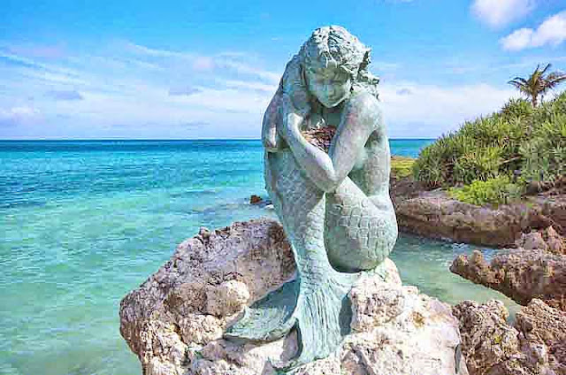 Mermaid statue on Moon Beach in Okinawa