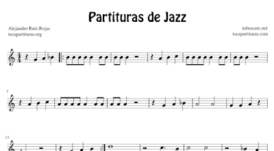 4 Partituras de Jazz Standard Fly me to the Moon, In the Mood, New York New York y Take Five partituras con Acordes