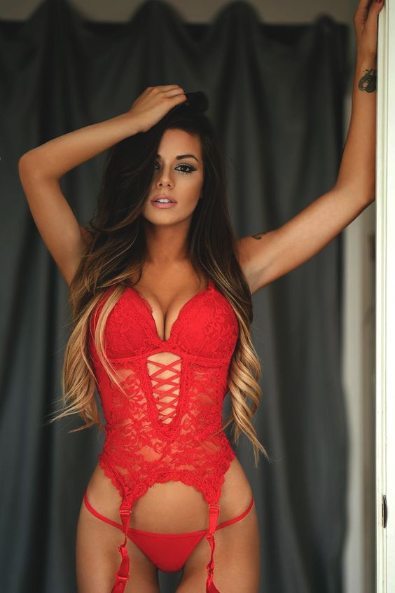 Today s lingerie model wearing a ravishing red eyeopening two piece lacy  ensemble. 4b3d24402142