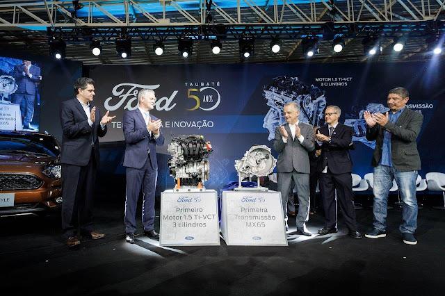 Ford comemora 50 anos da fábrica de Taubaté e inicia a produção local do motor 1.5 TI-VCT Flex de três cilindros e da transmissão manual MX65