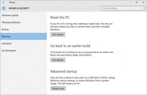 tiga pilihan utama recovery Windows