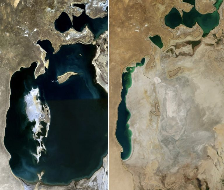 You Still Think Climate Change Is A Hoax These 20 Before-And-After Photos Will Leave You Speechless! - ARAL SEA, 1989 AND 2014