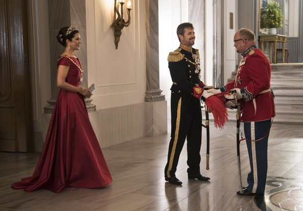 Crown Princess Mary wore Soeren le Schmidt dress, Princess Marie wore Rikke Gudnitz dress and tiara. Princess Elisabeth by Order of the Elephant