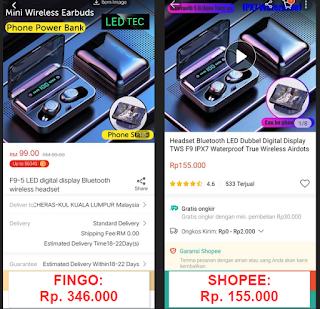 Perbandingan harga Fingo dan Shopee