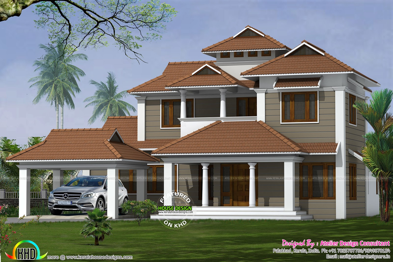 Bedroom Traditional Model Sloping Roof Home Kerala Home Design