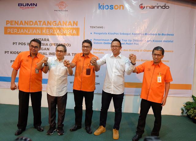 Layanan Kios-Pos hasil kerjasama Kioson dan PT Pos Indonesia.