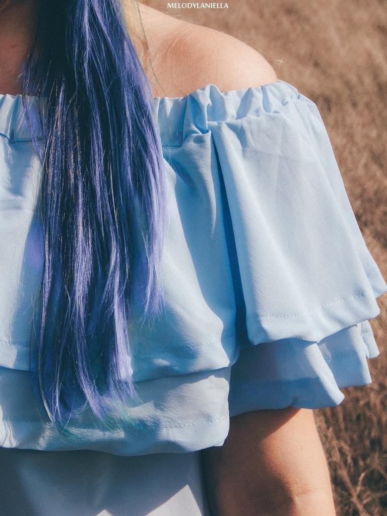 10 daniel wellington ootd lookbook fashion blogger modowe blogerki z łodzi melodylaniella blue hair niebieskie włosy baby blue hiszpanka venita błękitna sukienka stylizacja outfit modna polka pastel hair