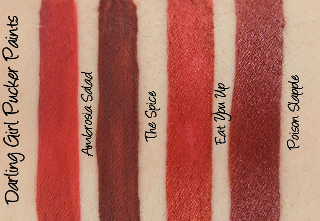 Darling Girl Pucker Paints - Ambrosia Salad, The Spice, Eat You Up and Poison Slapple Swatches & Review