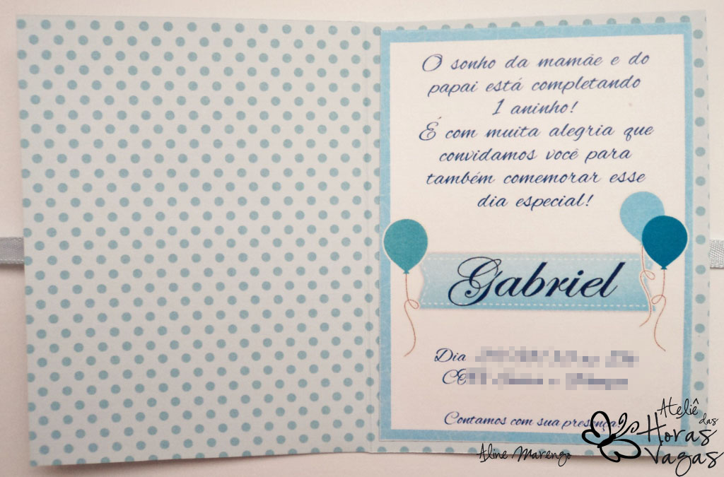 convite artesanal infantil aniversário ursinho poá azul e branco bebê meninio 1 aninho baby